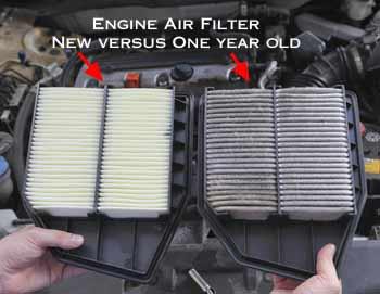 Engine air filter in a car