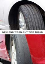New versus worn tire