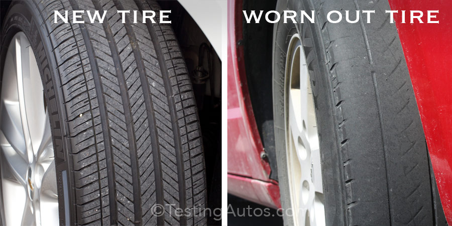 New vs Worn-out tire