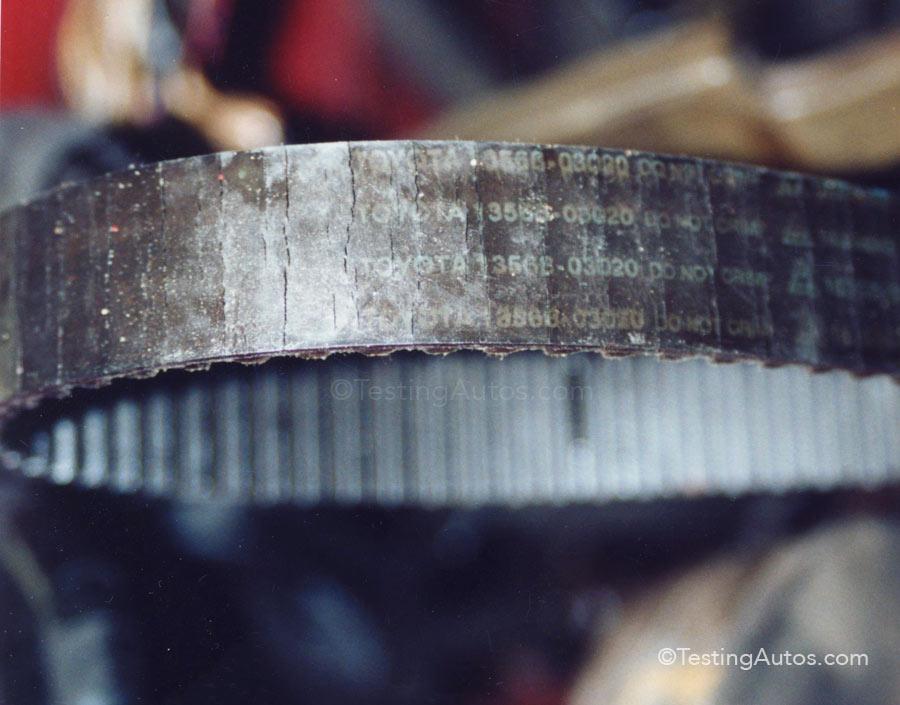 Worn timing belt