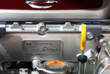 Takumi plaque on Nissan GT-R engine